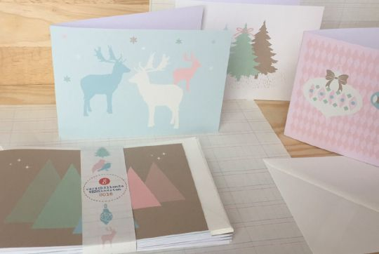 Set of 8 Pastel Christmas Cards | Belgunique